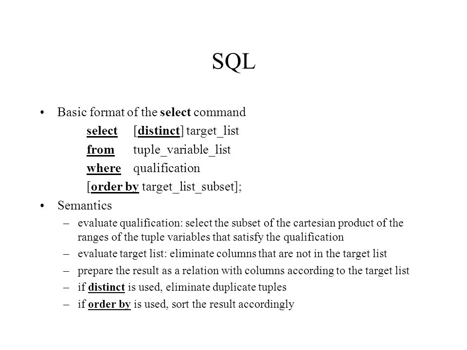 sql commands list with examples pdf